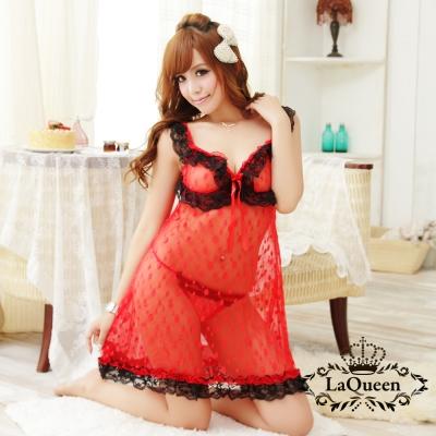 情趣睡衣   圓點薄透性感連身情趣睡衣-紅La Queen