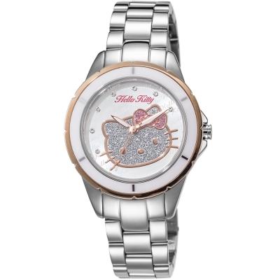 HELLO KITTY 凱蒂貓 微甜晶鑽手錶-銀x玫瑰金/35mm