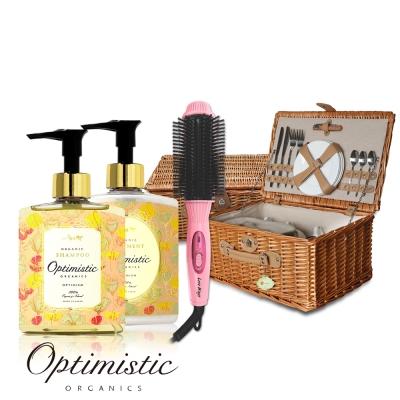 Optimistic歐樸蜜絲花果莊園洗護髮 送 八排式造型梳+Laskin法式柳編野餐籃