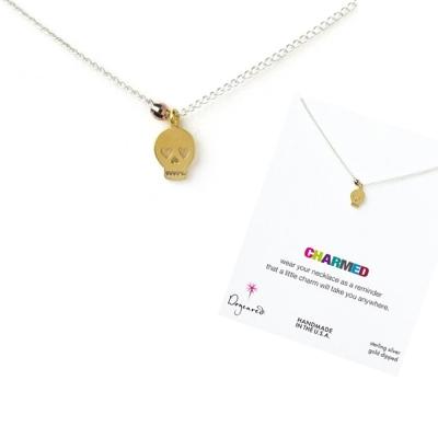 Dogeared 美國品牌祈願 925 純銀雙墜項鍊 星辰豆豆金骷髏頭