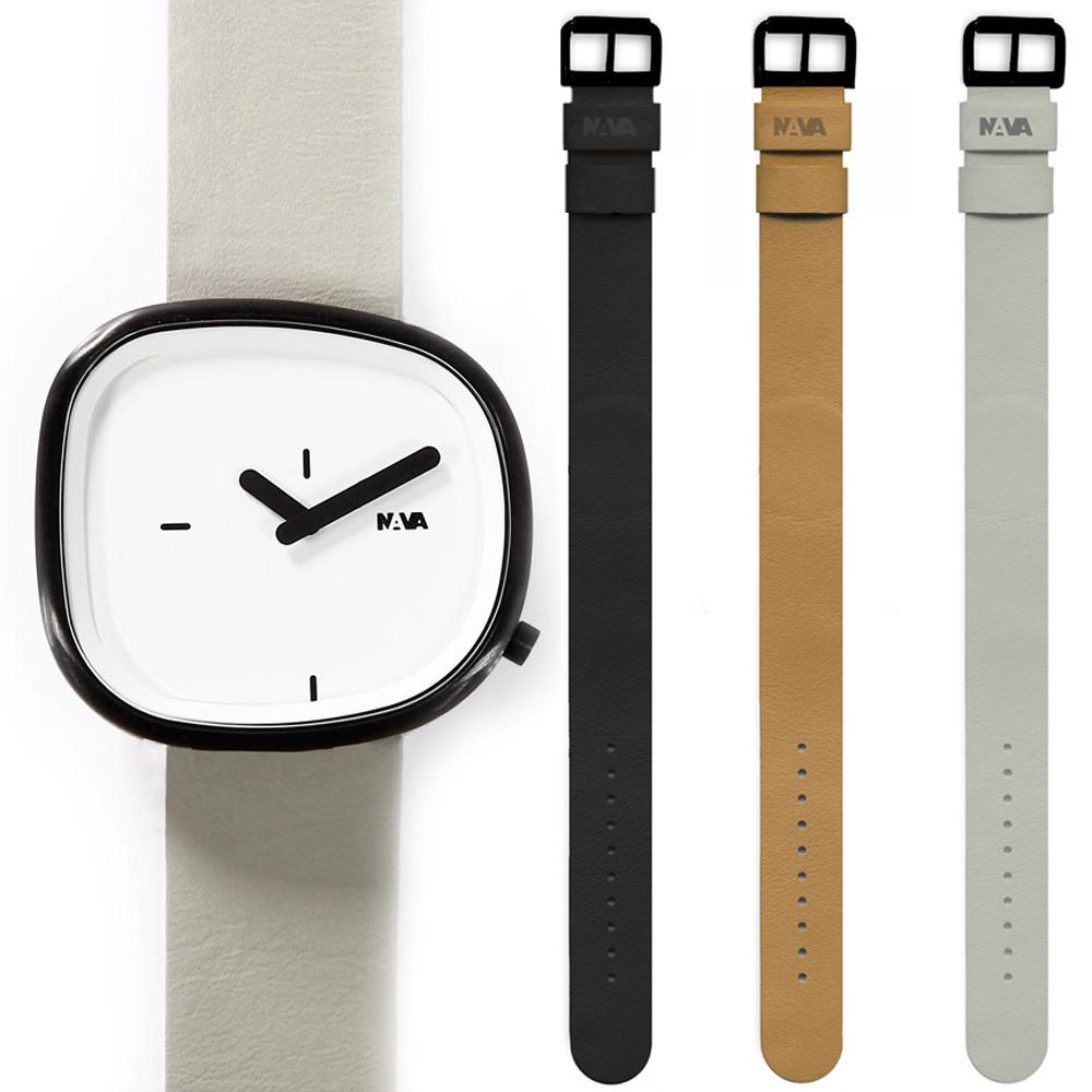 NAVA DESIGN 經典淬鍊石頭造型套錶組-白/42mm