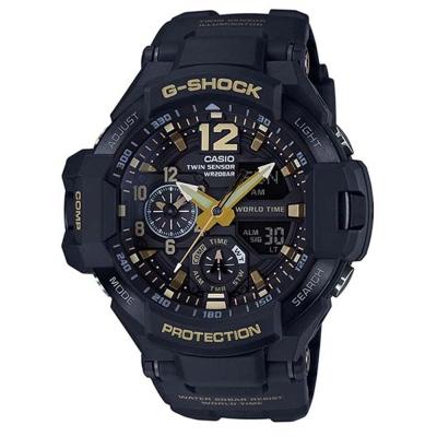 G-SHOCK航空飛行儀表概念數位羅盤運動錶(GA-1100GB-1A)黑x金/52mm