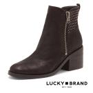 LUCKY BRAND--鉚釘綴飾粗中跟短靴-仿舊黑