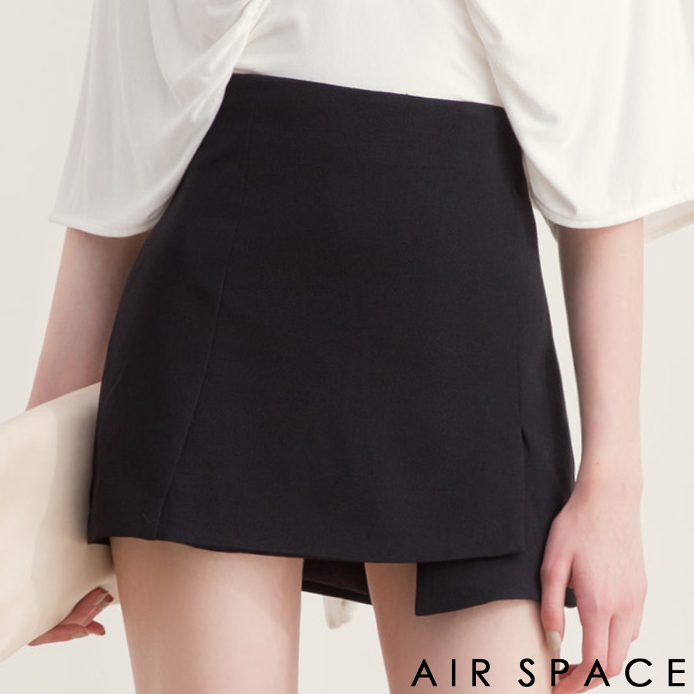 AIR SPACE不對稱裙襬剪裁雪紡短裙黑