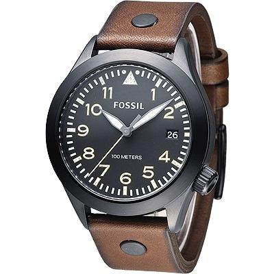 FOSSIL 魅力至上優雅文青男錶(AM4538)-黑框/咖啡/43mm