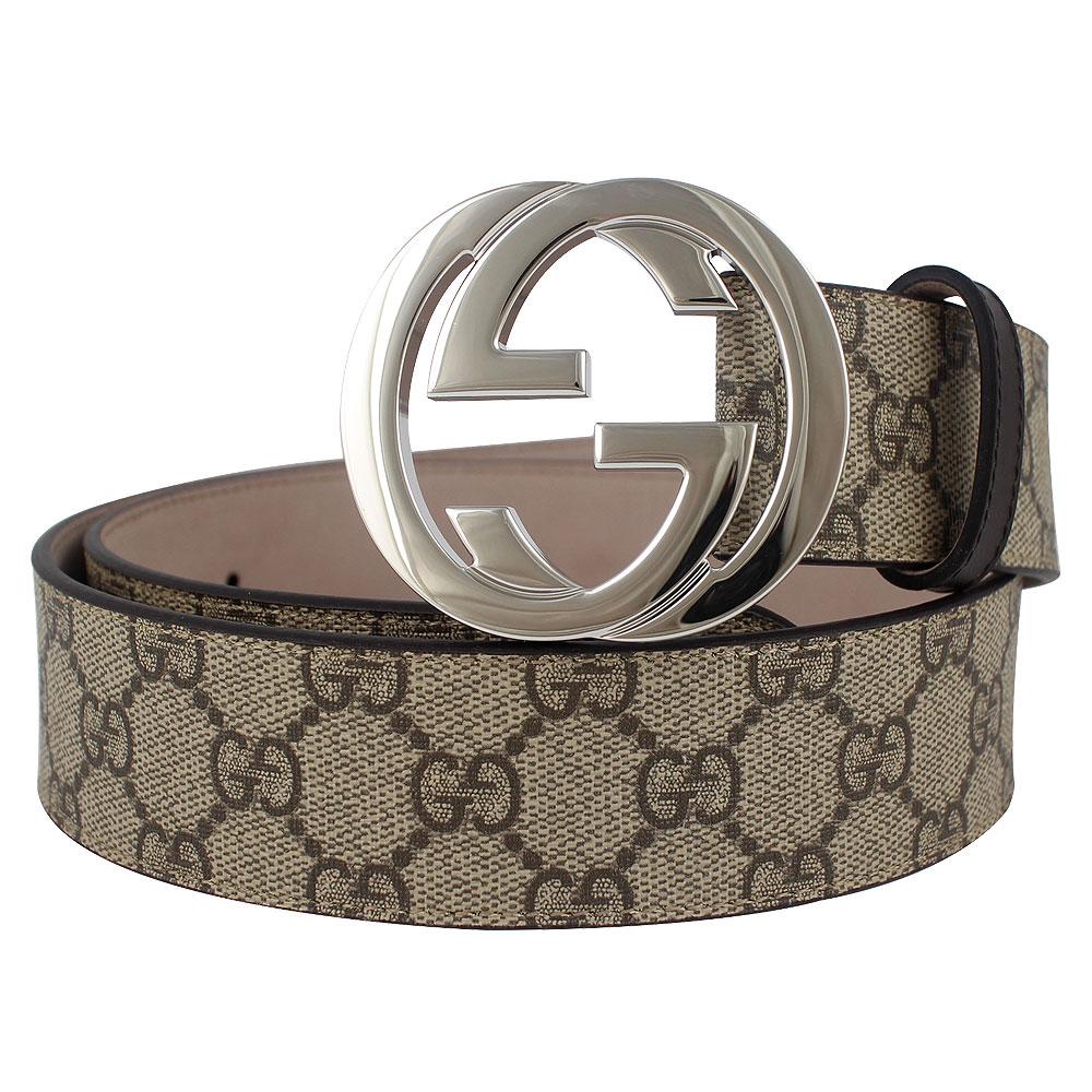 GUCCI GG Supreme 白金色雙G釦環防水材質皮帶(卡其色/90cm)