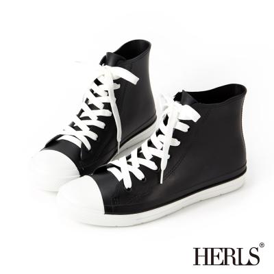 HERLS-雨季必備-帆布款高筒綁帶雨鞋-黑x白