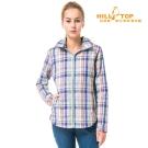 【hilltop山頂鳥】女款吸濕科技保暖棉長襯衫C05F16灰底藍格子