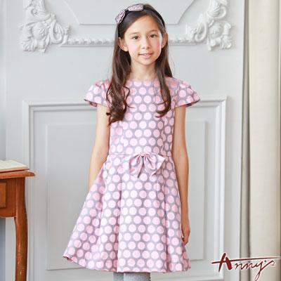 Annys氣質優雅大玉點點蝴蝶結緞質洋裝*7221粉