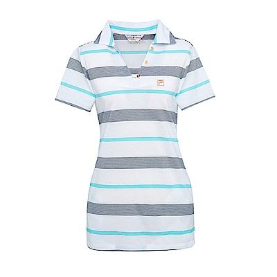 FILA 女條紋短袖POLO衫-白 5POS-1715-WT
