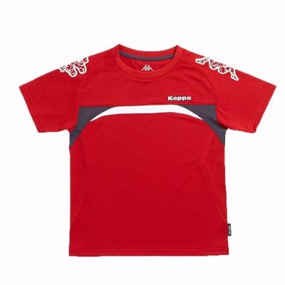 KAPPA義大利小朋友吸濕排汗速乾彩色圓領衫~大紅-深灰-白