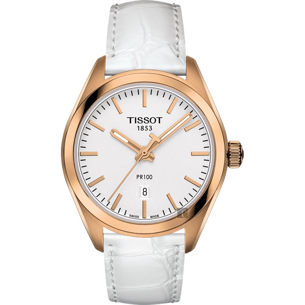 TISSOT天梭 PR100 經典石英女錶-玫瑰金框x白/33mm
