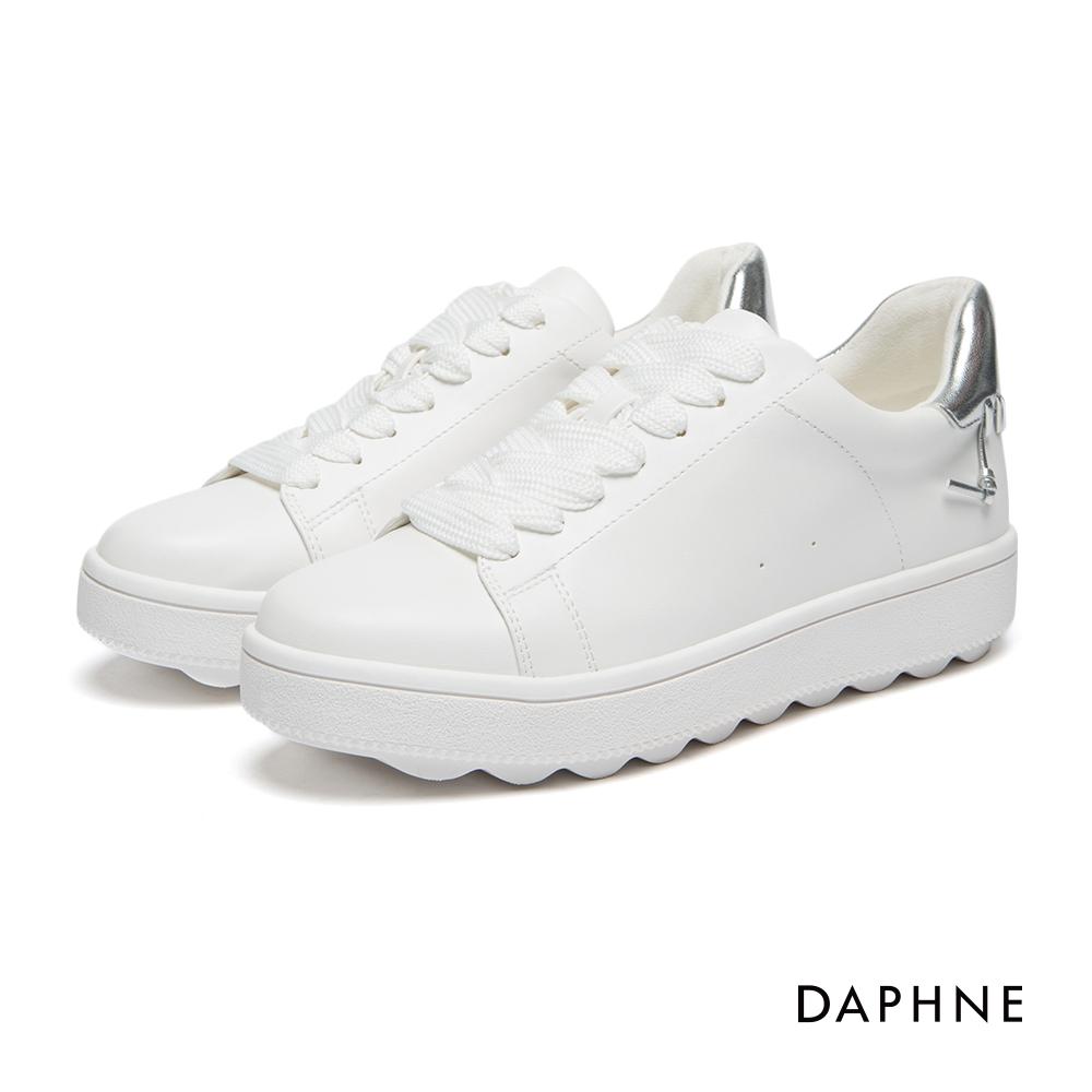 達芙妮DAPHNE休閒鞋-撞色拼接編織繫帶休閒鞋-銀