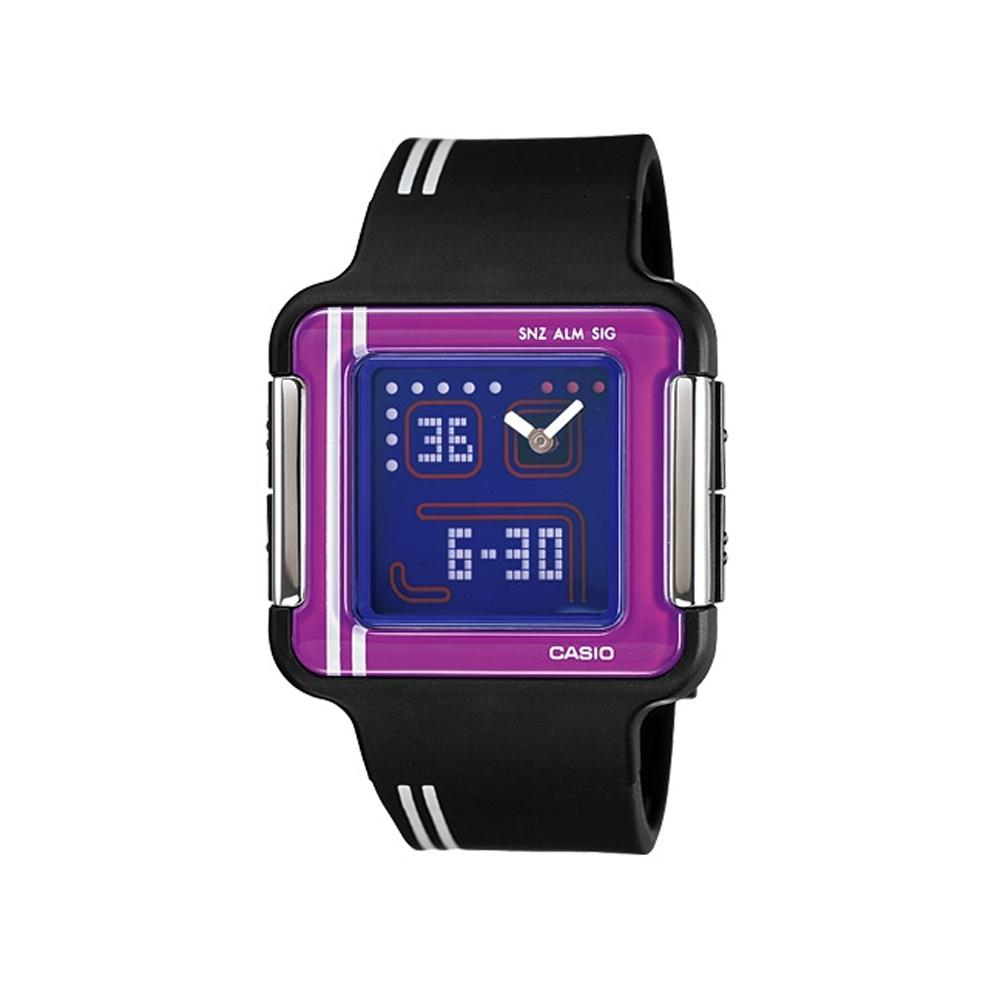 CASIO Poptone 潮流電玩概念數位錶(LCF-21-1A)-黑/35.8mm