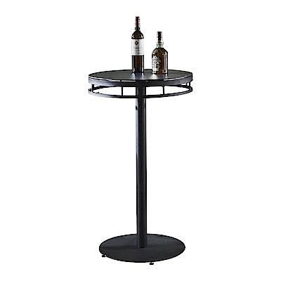 AT HOME-工業風設計2尺圓形仿岩燒玻面鐵藝洽談桌休閒桌吧台桌餐桌(60*60*100