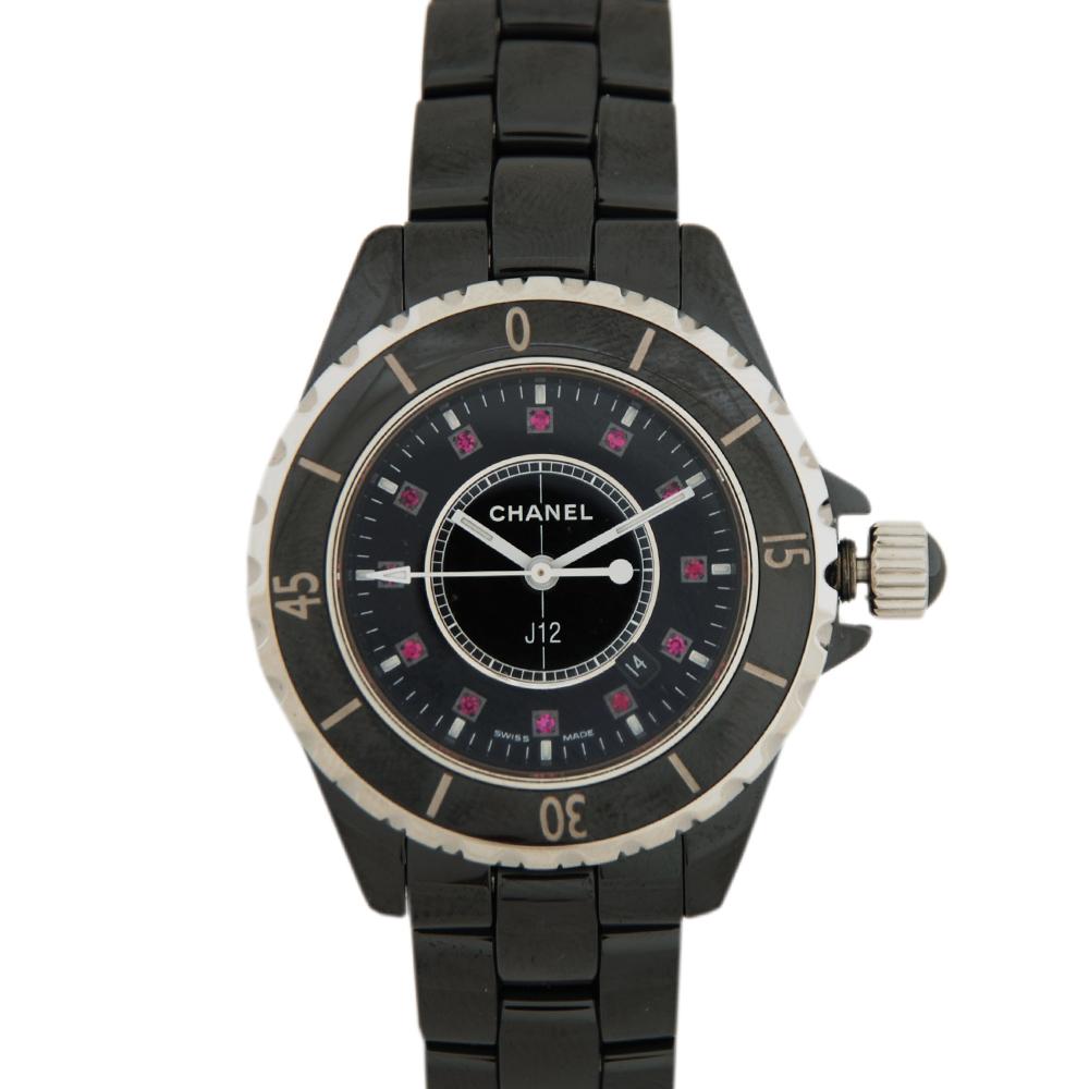 CHANEL J12 陶瓷石英紅寶鑽錶(黑)