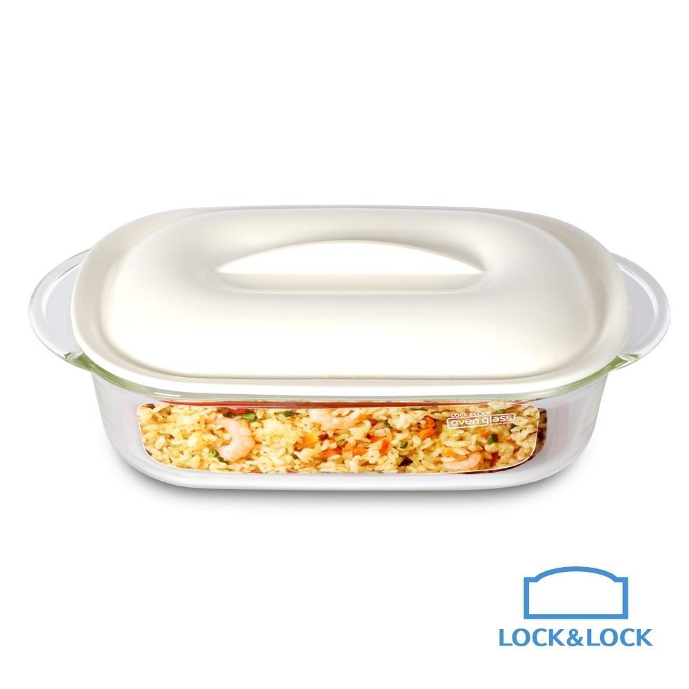 樂扣樂扣 耐熱玻璃調理系列/PP上蓋/白/長方形調理盤/650ML(8H)