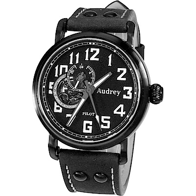 Audrey 歐德利 空軍爭霸 鏤空設計機械錶(AUGM5659)-消光黑/42mm