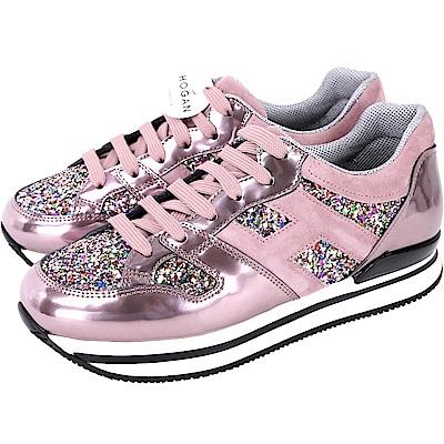 HOGAN H222 星沙亮片屬感厚底繫帶休閒鞋(粉紫色)