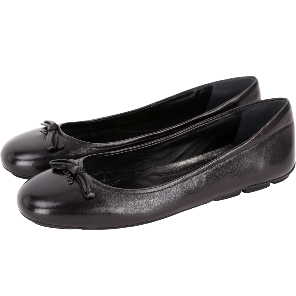 PRADA黑色羊皮蝴蝶結娃娃鞋