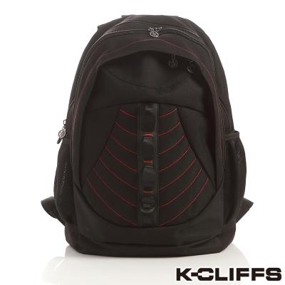 美國K-CLIFFS 流線雙肩後背電腦包(17吋) - 黑