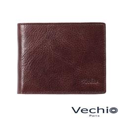 VECHIO - 紳士商務款深色原皮系列5卡透明窗皮夾 - 酒紅棕