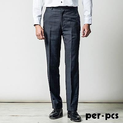 per-pcs 正式品味修身版平面西褲_深藍格(817108)