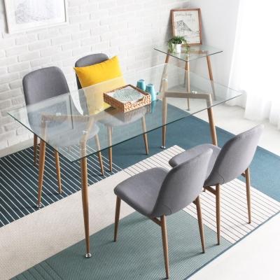H&D Joanne 現代風簡約玻璃餐桌椅組(二桌四椅)_139.5*79.5*76cm