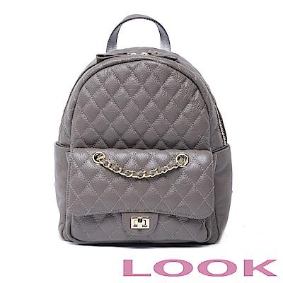 LOOK-真皮菱格後背包-俏麗女孩Queena系列-時尚灰