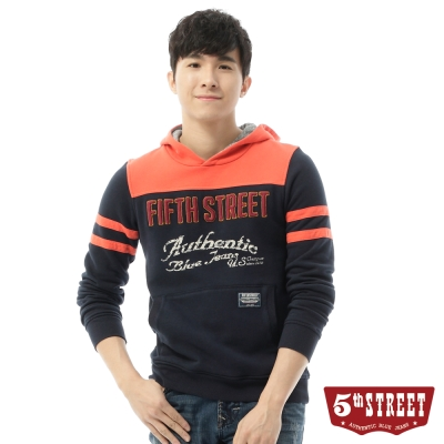 5th-STREET-美式休閒厚絨拼接帽T-男-丈青