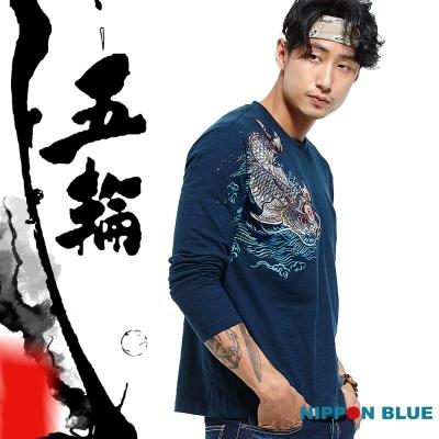 日本藍 BLUE WAY 五輪系列-水激如劍精繡長薄TEE