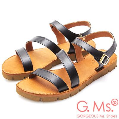 G.Ms. MIT系列~牛皮一字繞踝鋸齒底涼鞋~黑色
