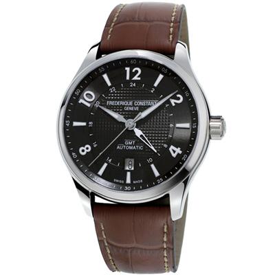 康斯登 CONSTANT RUNABOUT GMT腕錶-42mm/深灰x咖啡