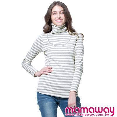 孕婦裝-哺乳衣-百搭高領長版孕哺上衣-共四色-Ma