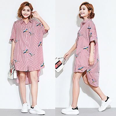 條紋刺繡鶴前短後長寬鬆襯衫洋裝-F-Keer