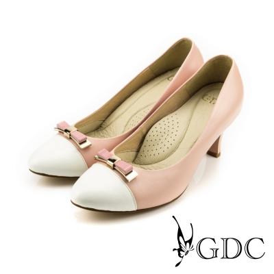 GDC-典雅蝴蝶結拼接撞色粗跟鞋-白色
