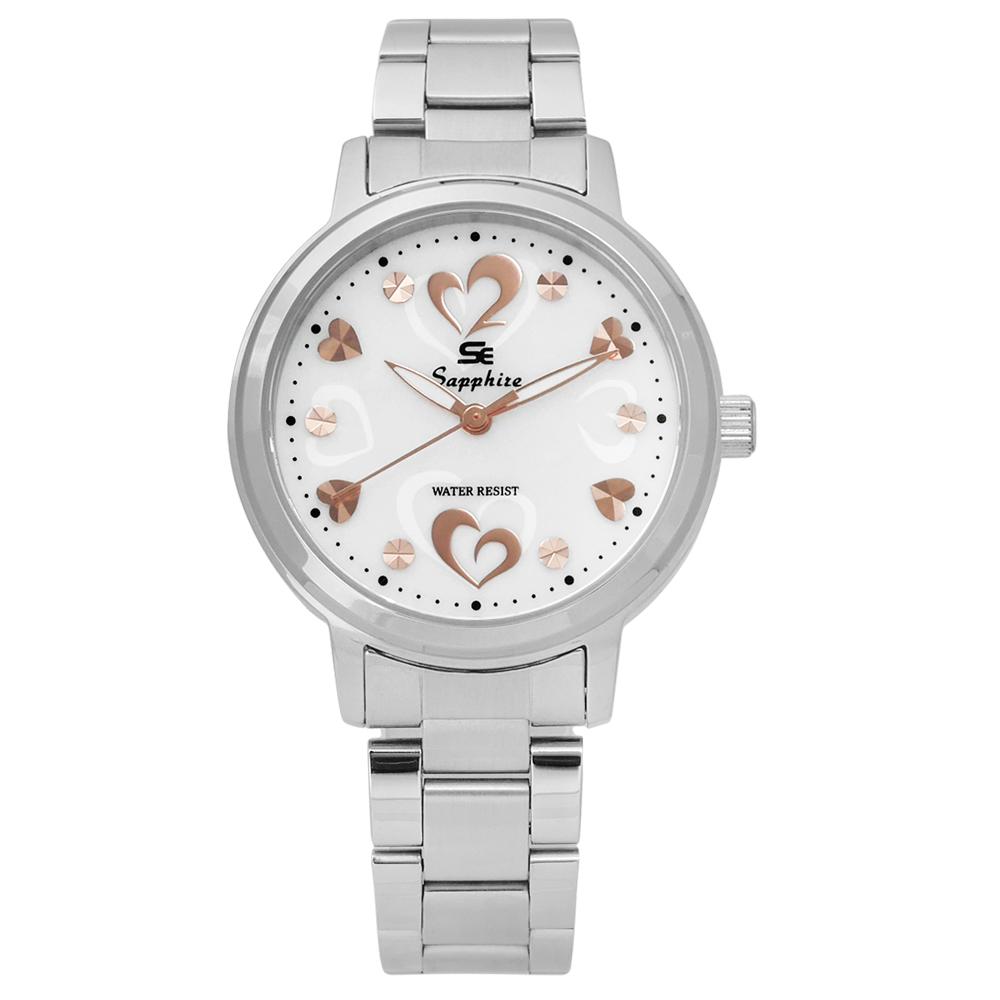 Sapphire  雙心浪漫珍珠母貝藍寶石水晶不鏽鋼手錶-白色 /31mm