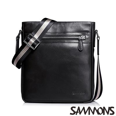 SAMMONS-真皮史考特經典斜背包-質感黑