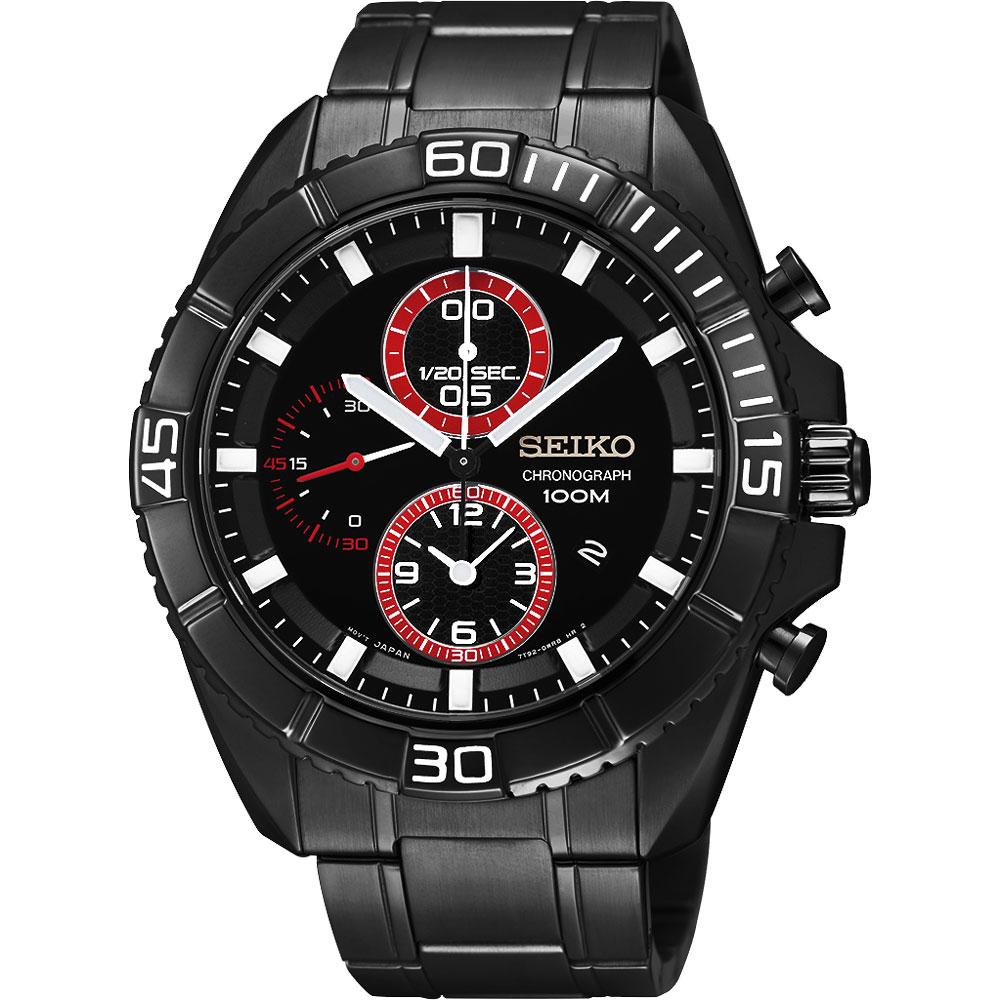 SEIKO Criteria 幻象戰機三眼計時腕錶(SNDF25P1 )-IP黑x紅圈/44mm