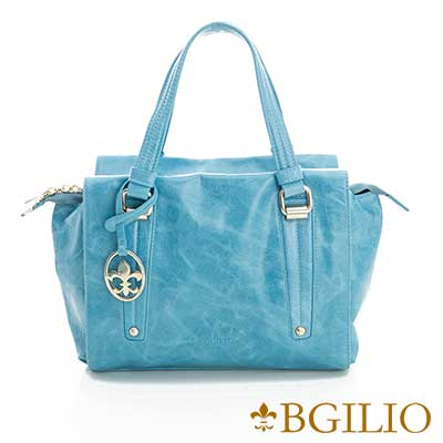 義大利BGilio-青春亮麗臘感牛皮手提包-淺藍色2111.002A-09