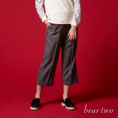 beartwo 立體壓褶修身寬管老爺褲(二色)