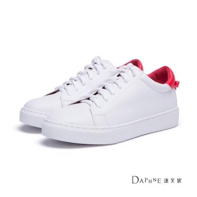 達芙妮DAPHNE-休閒鞋-後跟拼色基本款綁帶球鞋-紅8H