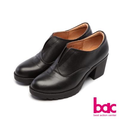 bac新世代龐克簡約素面V口紳士粗跟鞋藍