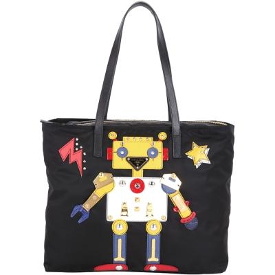PRADA Nylon Robot Tote Bag 機器人圖案尼龍拉鍊托特包(黑色)