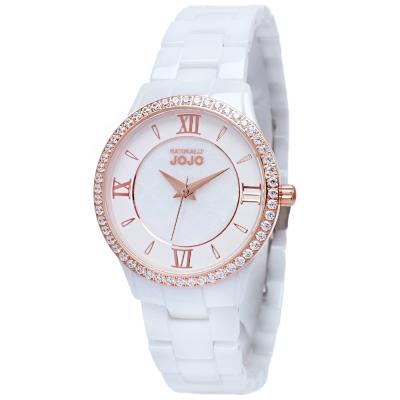 NATURALLY JOJO優雅晶鑽陶瓷時尚手錶-白/30mm