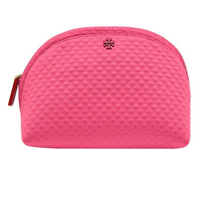 TORY BURCH 浮雕菱格紋織布拉鍊萬用/化妝包-粉紅色