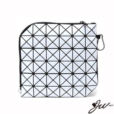 JW魔幻漆皮幾何變形隨身萬用包-共8色-天使白