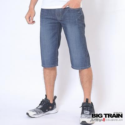 BIG TRAIN 純棉牛仔短褲-男-灰藍