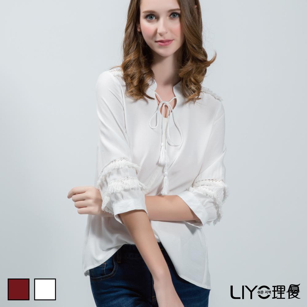LIYO理優正韓上衣流蘇雪紡上衣暗紅色白