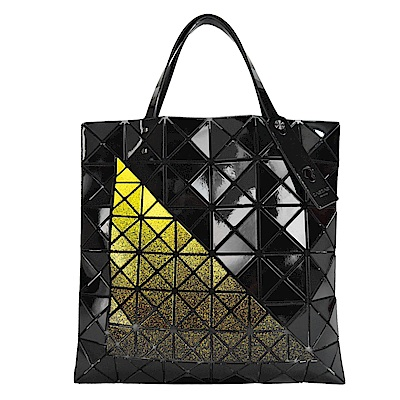 ISSEY MIYAKE三宅一生BAOBAO幾何6x6拼色三角形手提包(黑x黃)
